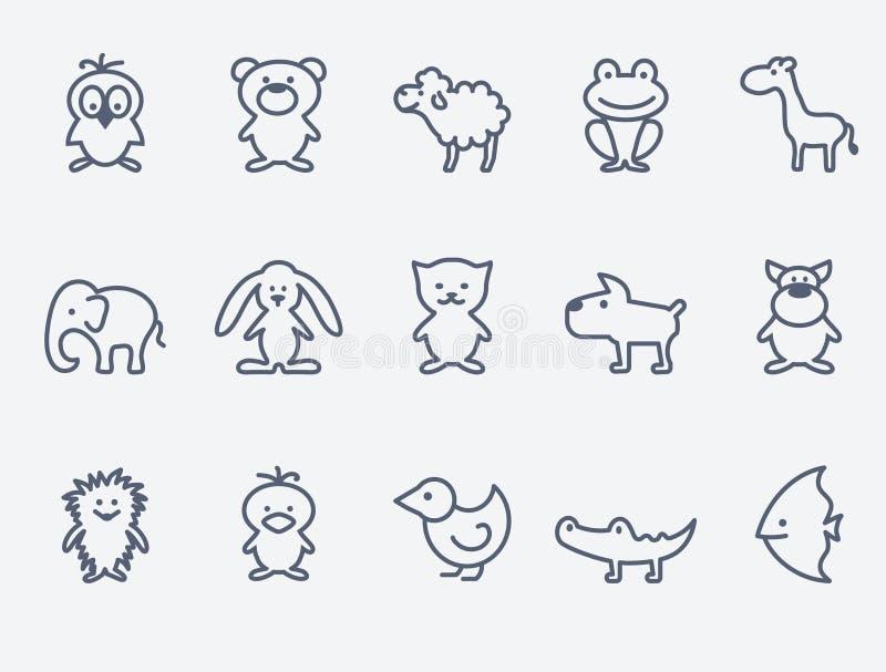 Значки животного шаржа иллюстрация вектора
