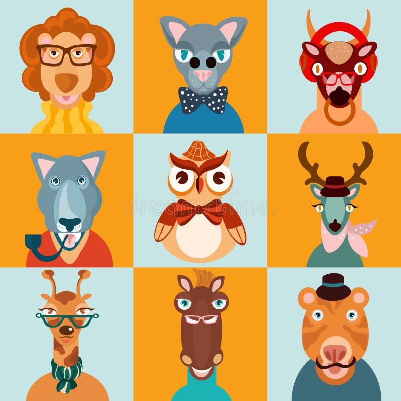 Значки животных битника плоские бесплатная иллюстрация