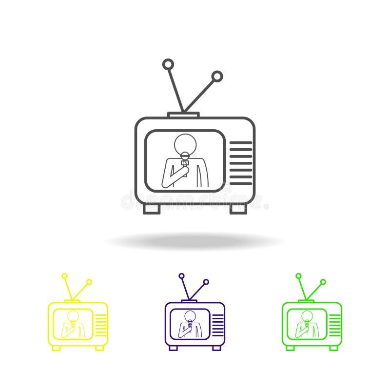 значки журналиста по телевизору пестротканые Элемент публицистики для мобильной иллюстрации приложений концепции и сети Смогите б бесплатная иллюстрация