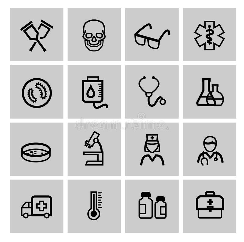 Значки заботы медицины & вереска иллюстрация штока