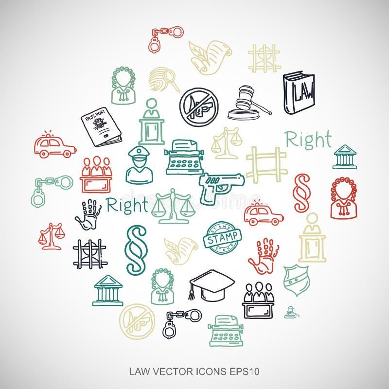 Значки закона doodles закона Multicolor нарисованные рукой установили на белизну Иллюстрация вектора EPS10 иллюстрация вектора
