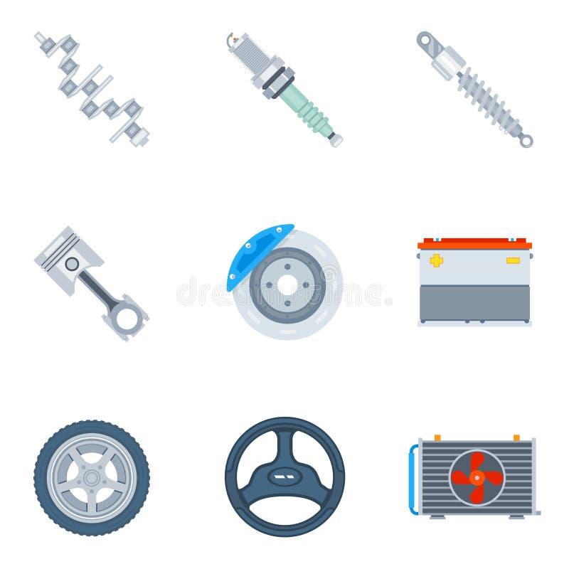 Значки запасных частей автомобиля плоские иллюстрация вектора