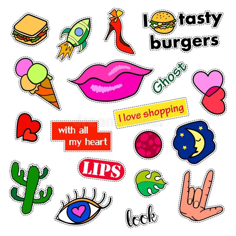 Значки заплаты моды Большой комплект Стикеры, штыри, вышивка, заплаты и рукописное собрание примечаний в шарже 80s-90s бесплатная иллюстрация