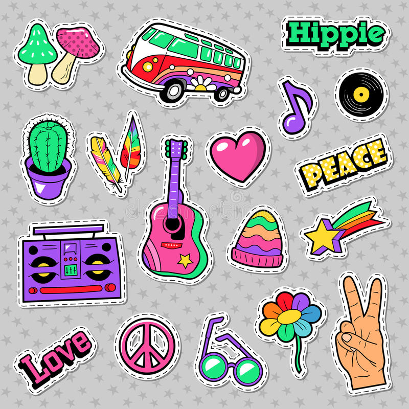 Значки, заплаты, стикеры с Van Грибом Гитарой и перо Hippie моды бесплатная иллюстрация
