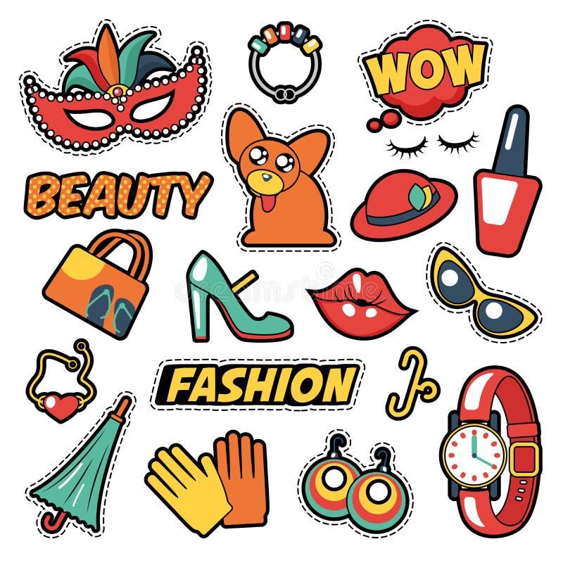 Значки, заплаты, стикеры - шуточный пузырь, собака, губы и одежды девушек моды в стиле искусства шипучки шуточном иллюстрация вектора