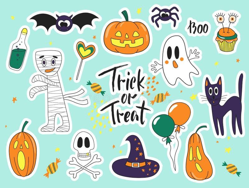 Значки заплаты doodle шаржа моды хеллоуина милые с призраками, котом, пауком, тыквами и другими элементами установите стикеры иллюстрация вектора