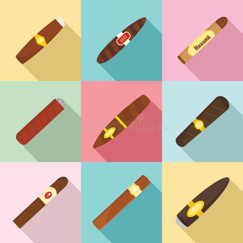 Значки засорителя бумаги сигары кубинские установили, плоский стиль иллюстрация штока