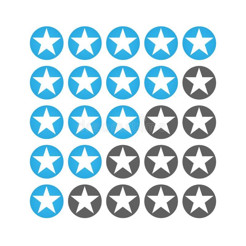 Значки звезды raiting Давать 5 звезд raiting плоское ldesign иллюстрация вектора