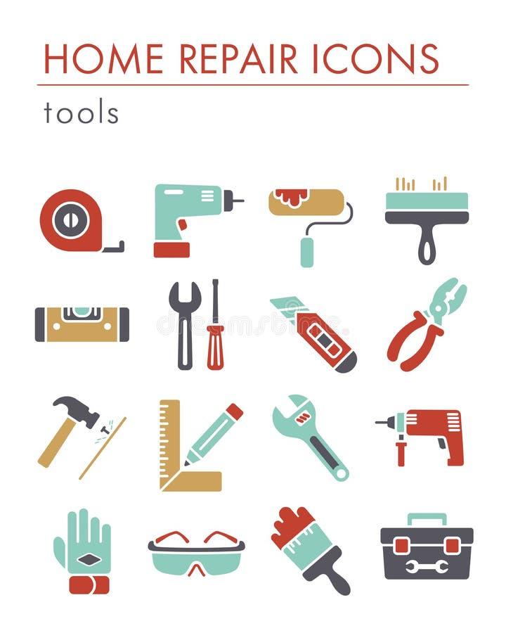 Значки здания, конструкции и домашних ремонта инструментов иллюстрация вектора