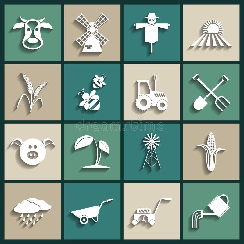 Значки земледелия и сельского хозяйства. Иллюстрация вектора иллюстрация вектора