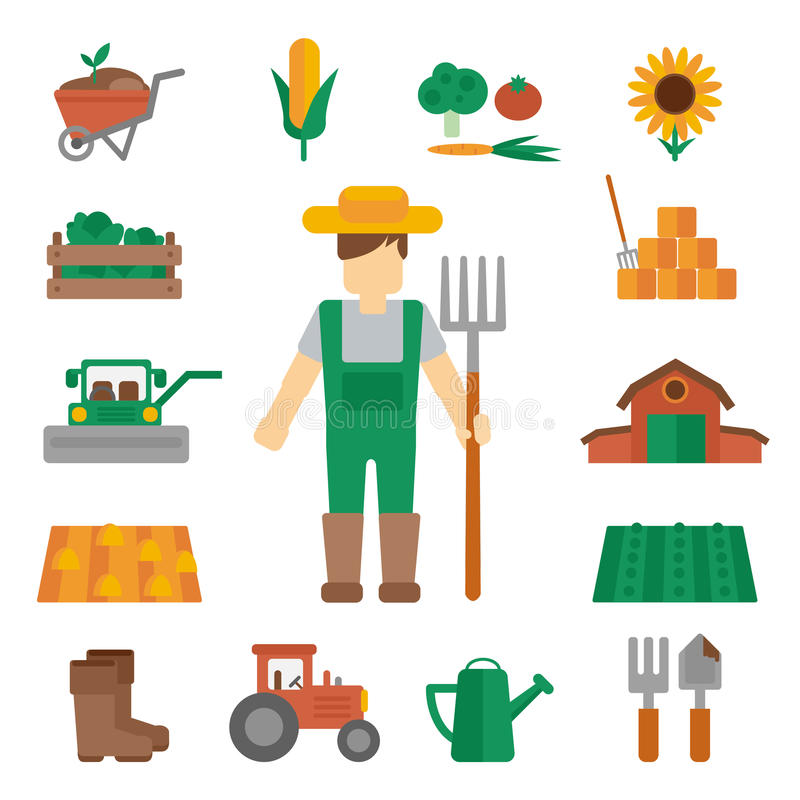 Значки земли фермера плоские иллюстрация вектора