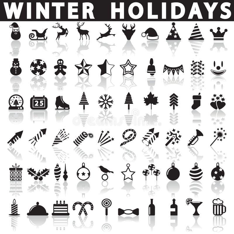 Значки зимнего отдыха, вектор иллюстрация вектора