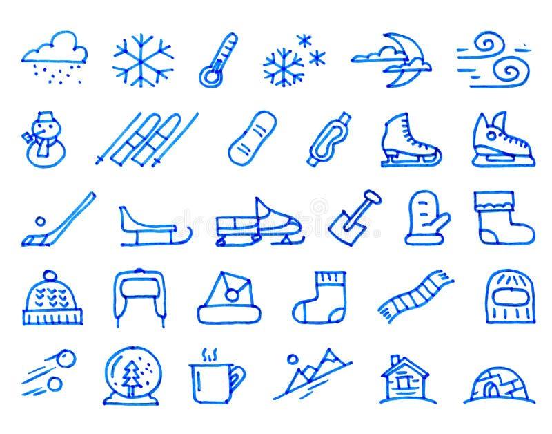 Значки зимы 30 нарисованные рукой нарисованные с ручкой войлок-подсказки иллюстрация вектора