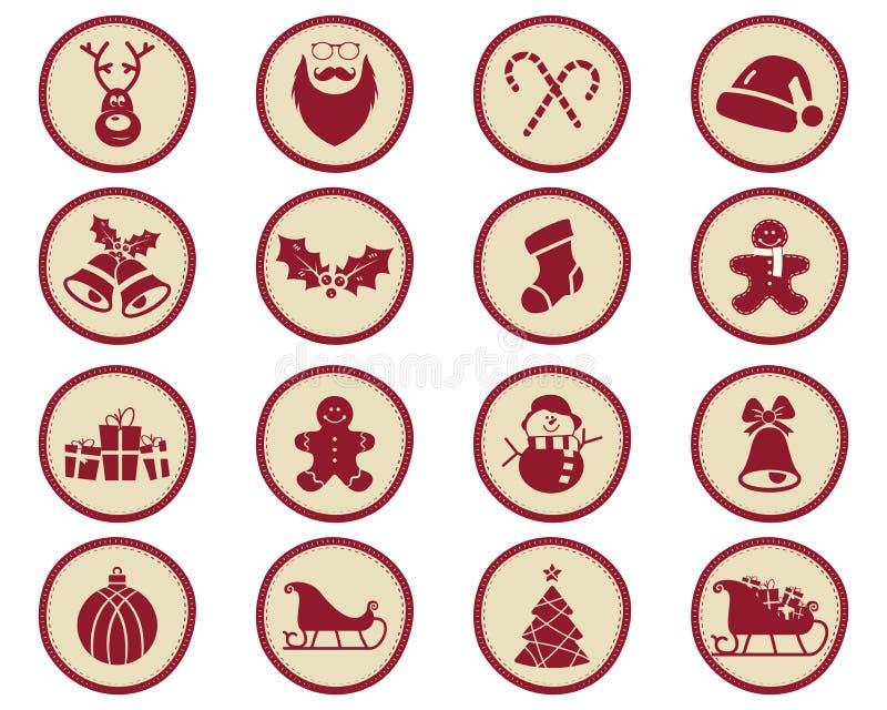 Значки зимы рождества и элементы дизайна с символами праздника для детей - снеговика, santa, помадок и так далее Новый Год иллюстрация вектора