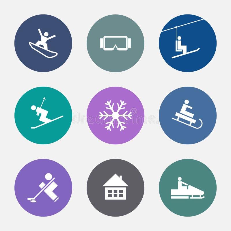 Значки зимы Спорт лыжи Установленные кнопки курорт бесплатная иллюстрация