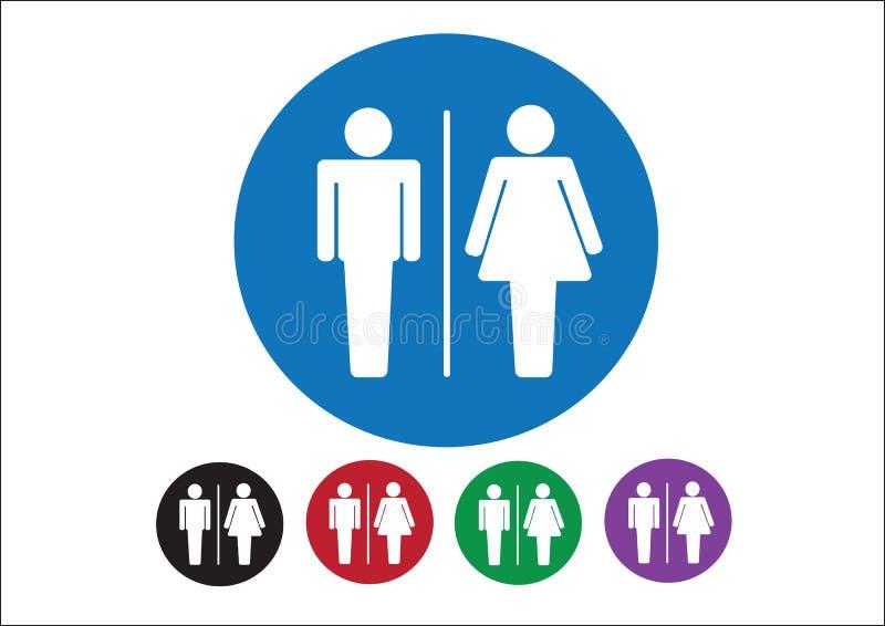 Значки знака женщины человека пиктограммы, знак туалета или значок уборного иллюстрация штока
