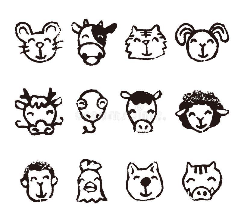 Значки знака китайского зодиака животные бесплатная иллюстрация