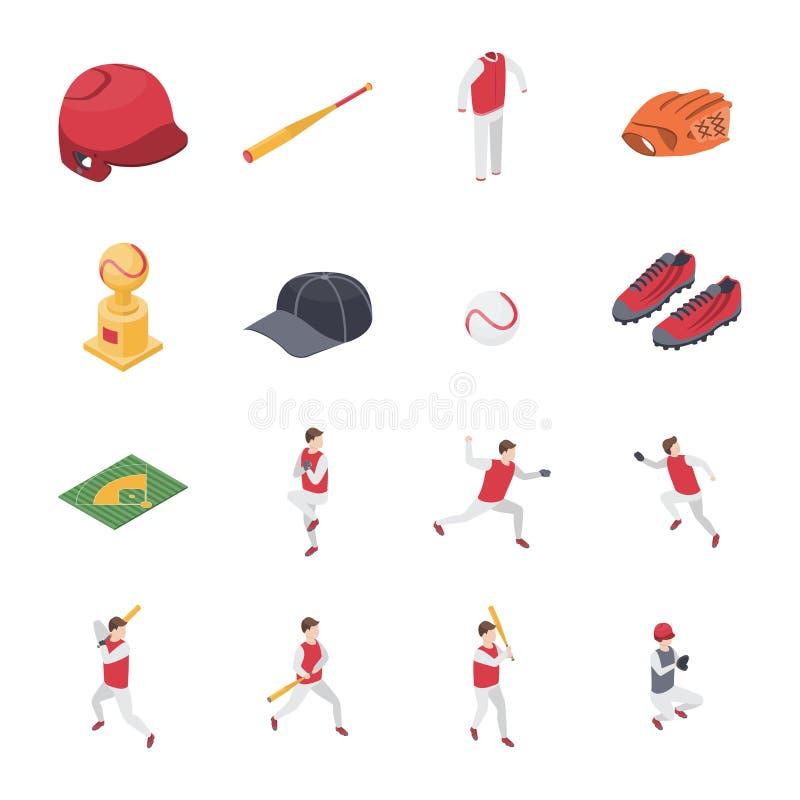 Значки знаков 3d спорта бейсбольного матча установили равновеликий взгляд вектор иллюстрация вектора