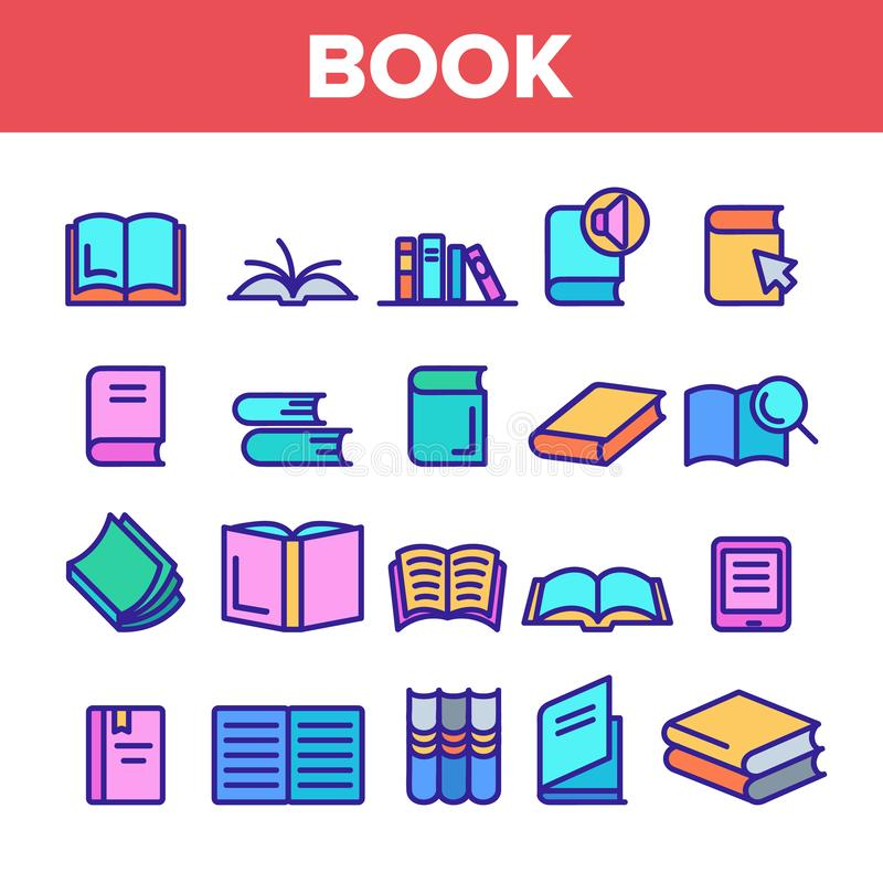 Значки значков в книге цветной библиотеки: установка вектора бесплатная иллюстрация