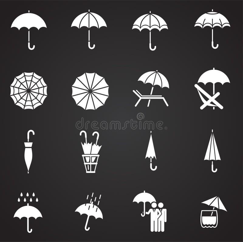 Значки зонтика установили на предпосылку для графика и веб-дизайна Простая иллюстрация E иллюстрация штока