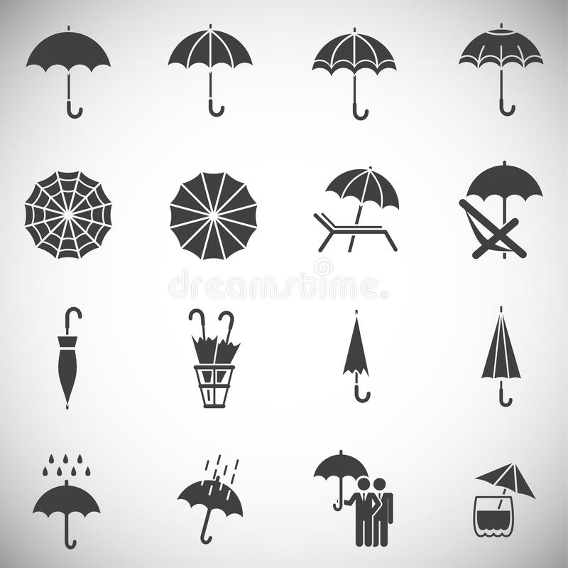 Значки зонтика установили на предпосылку для графика и веб-дизайна Простая иллюстрация E иллюстрация вектора