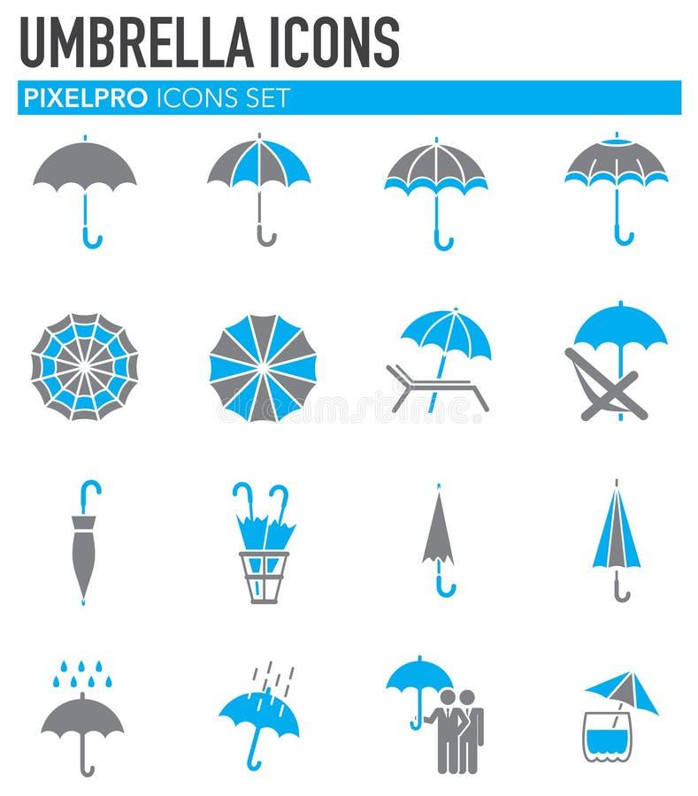 Значки зонтика установили на предпосылку для графика и веб-дизайна Простая иллюстрация E бесплатная иллюстрация