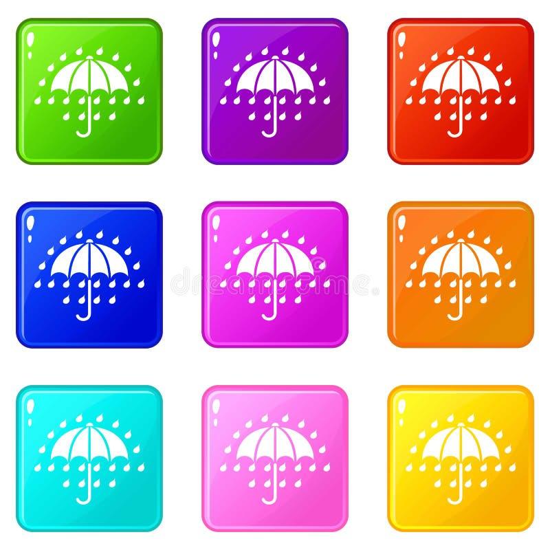 Значки зонтика установили собрание 9 цветов иллюстрация штока