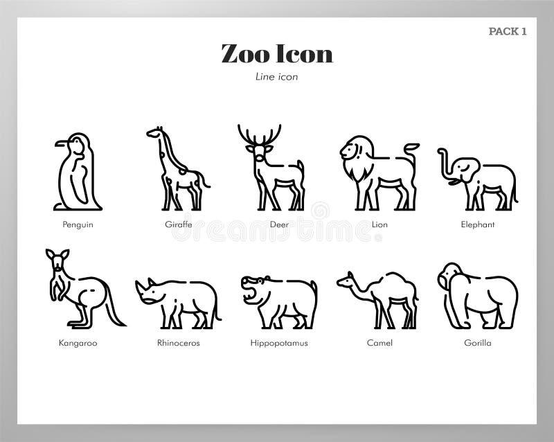 Значки зоопарка выравнивают пакет иллюстрация штока
