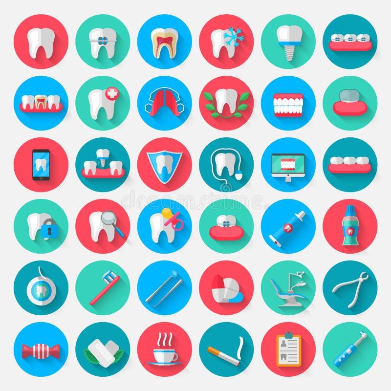 Значки зубоврачевания в плоском стиле дизайна Vector элементы символов иллюстрации на теме стоматологии и иллюстрация вектора