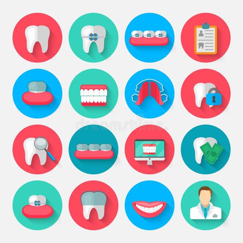 Значки зубоврачевания изолированные в плоском стиле дизайна Vector элементы символов иллюстрации на теме стоматологии и иллюстрация вектора