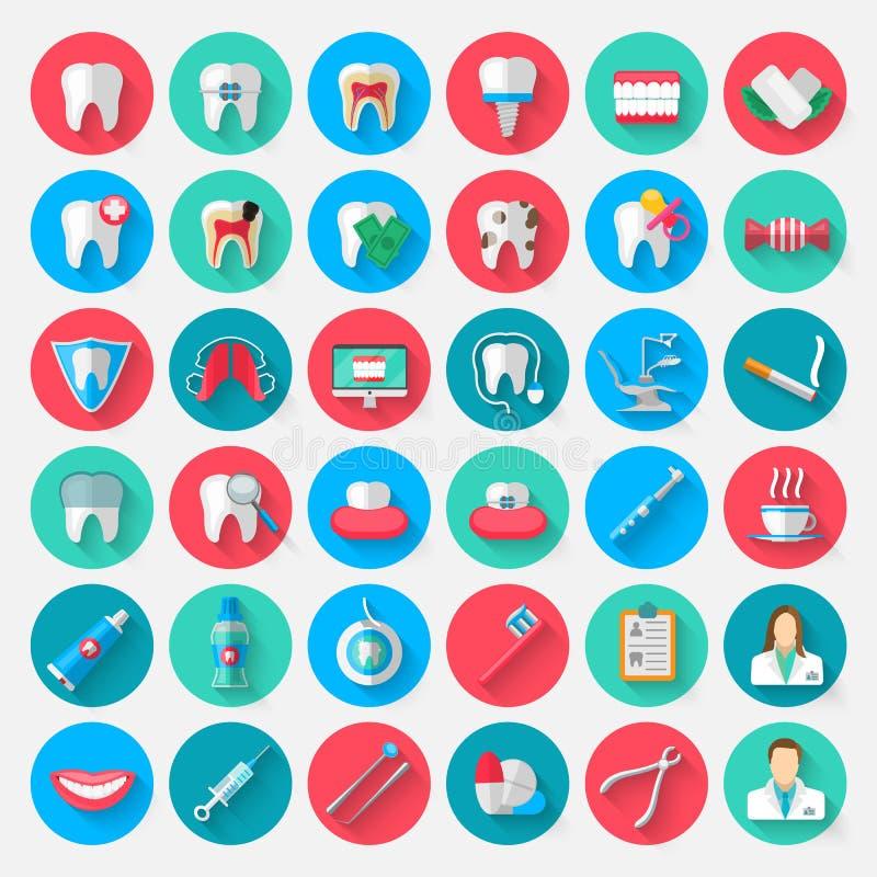 Значки зубоврачевания изолированные в плоском стиле дизайна Vector элементы символов иллюстрации на теме стоматологии и иллюстрация штока