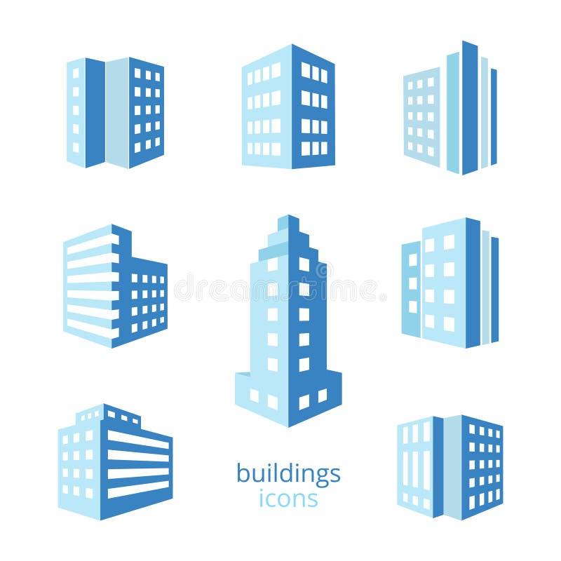 Значки зданий вектора иллюстрация вектора