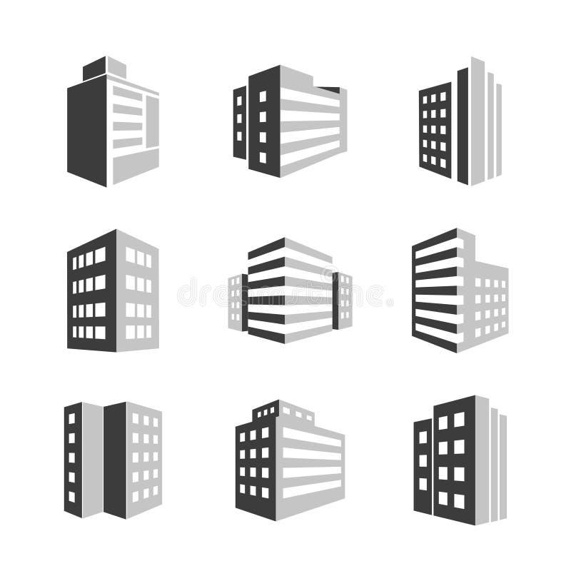 Значки зданий иллюстрация штока