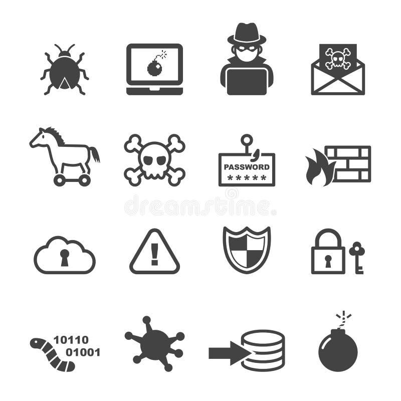 Значки злодеяния кибер иллюстрация штока