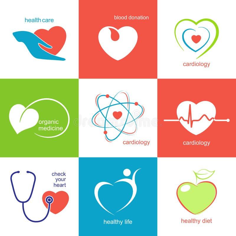 Значки здравоохранения сердца иллюстрация штока