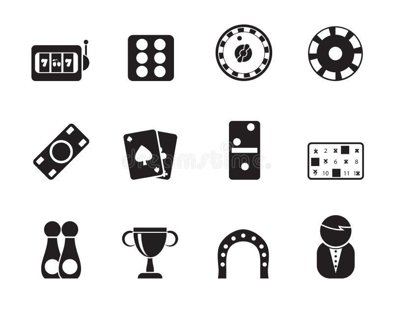 Значки играть в азартные игры и казино силуэта иллюстрация штока