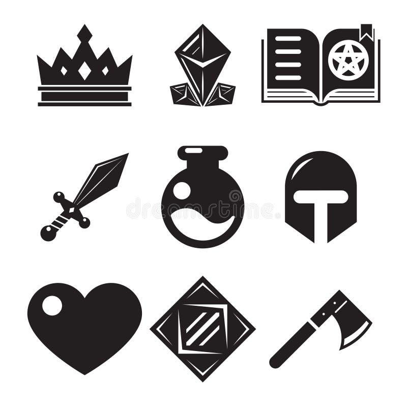 Значки игры фантазии иллюстрация вектора