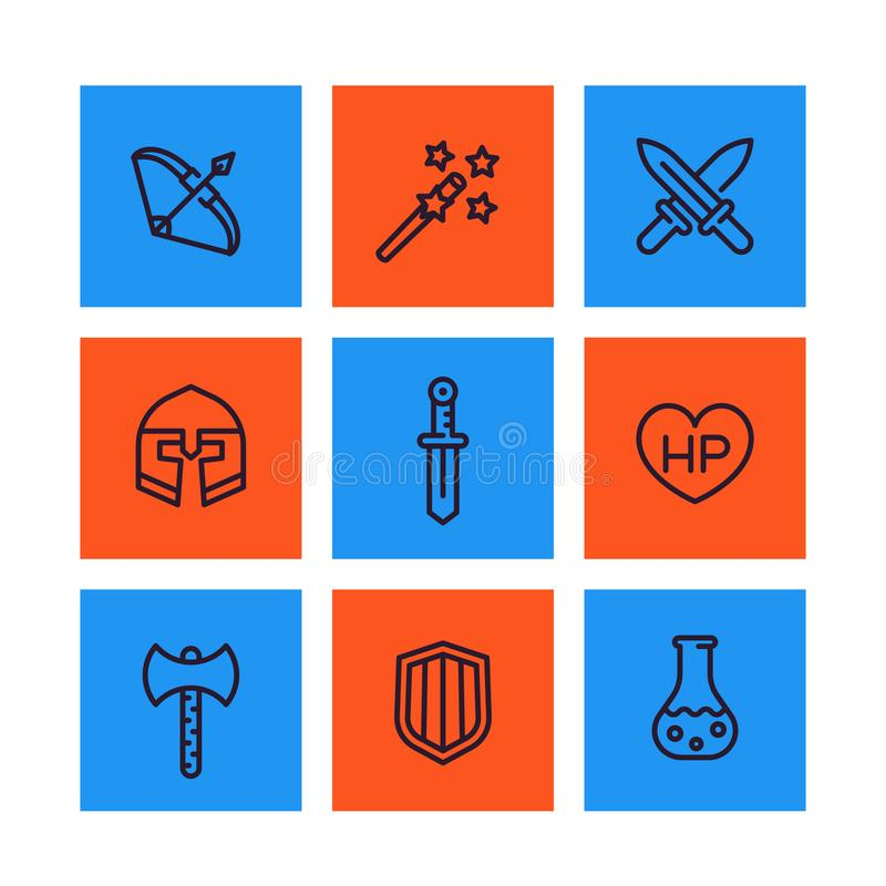 Значки игры, RPG, детали фантазии, шпаги, волшебная палочка иллюстрация штока