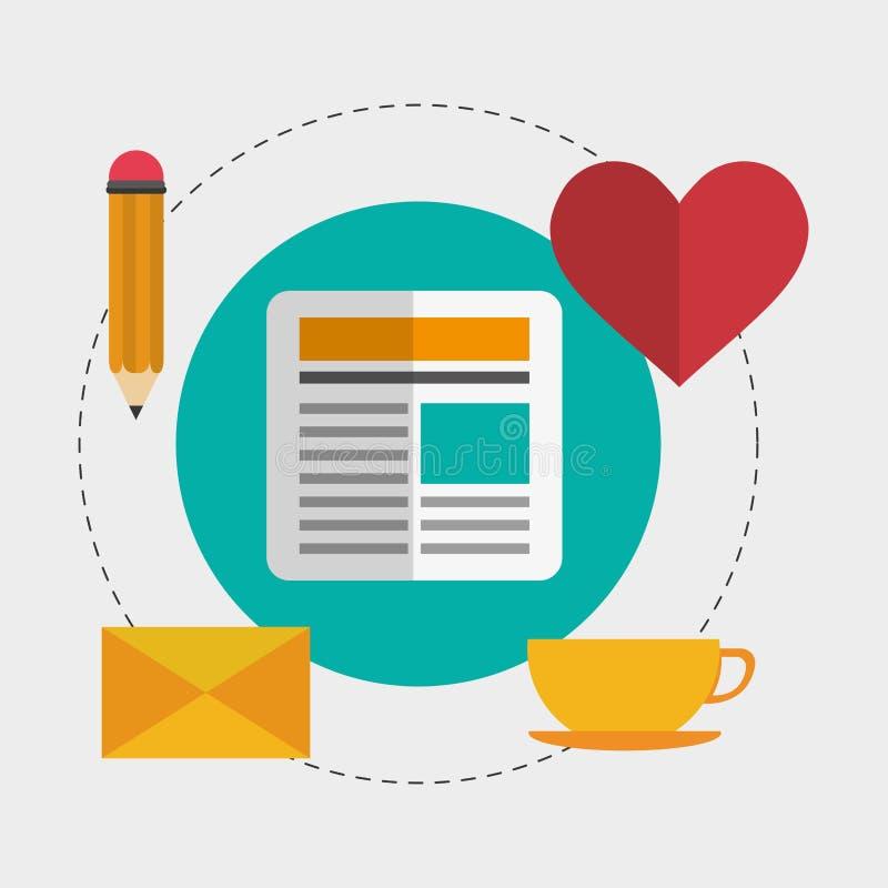Значки дизайна блога иллюстрация вектора