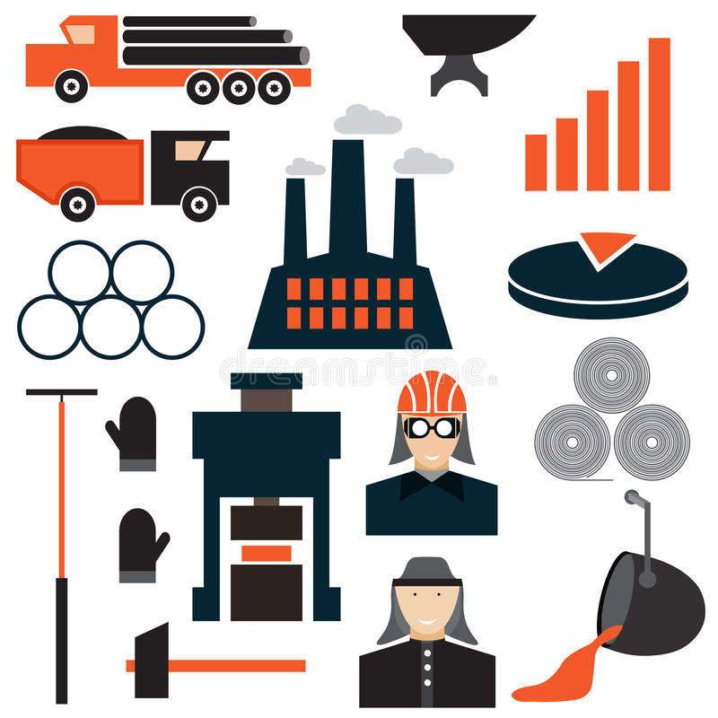 значки дизайна индустрии металлургии бесплатная иллюстрация