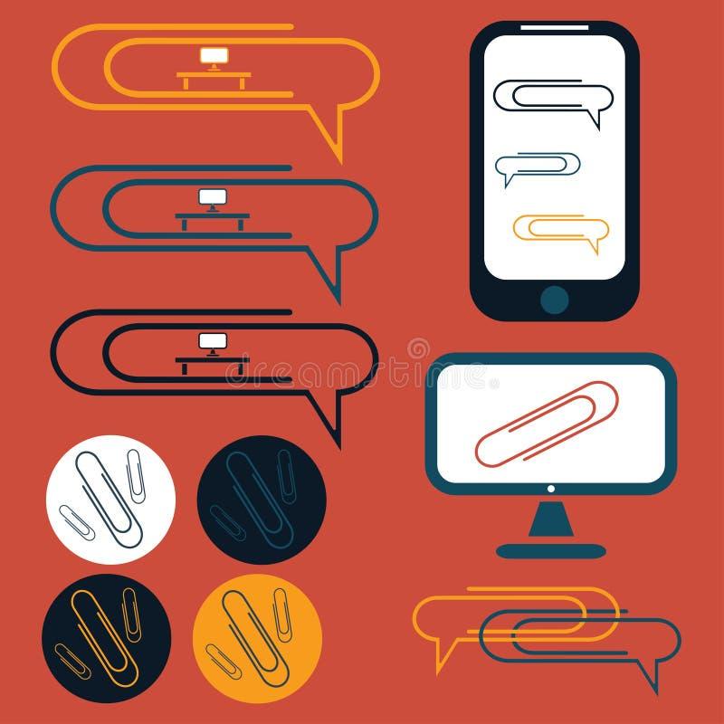 значки дизайна социальных элементов офиса иллюстрация вектора