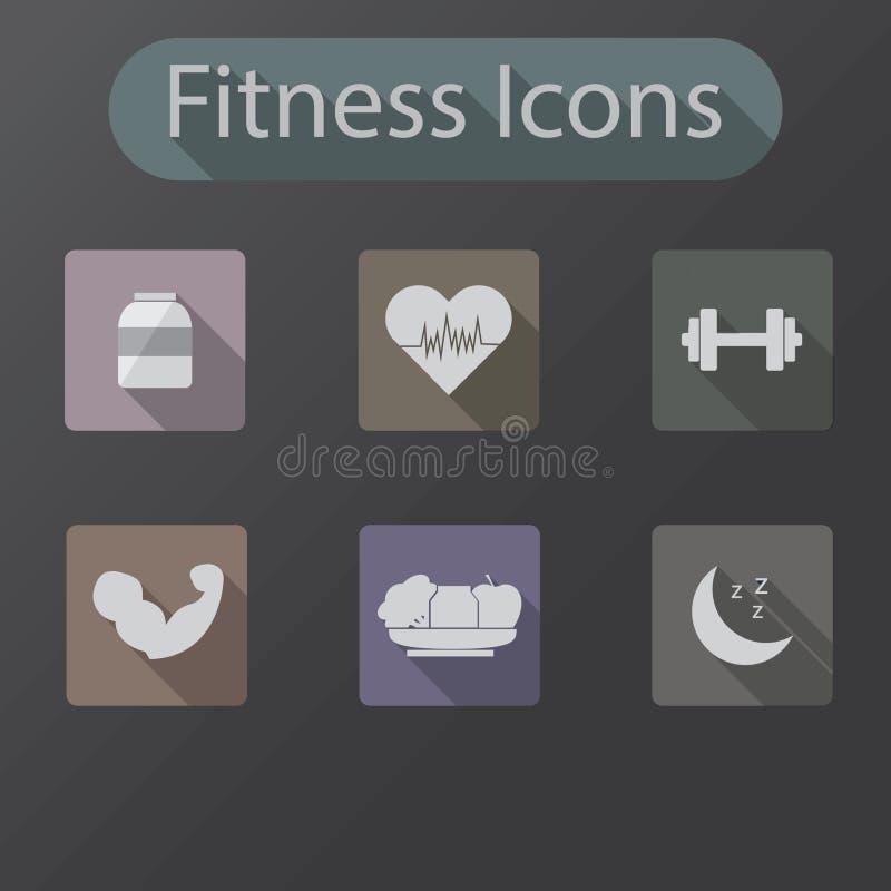 Значки дизайна фитнеса плоские стоковые изображения