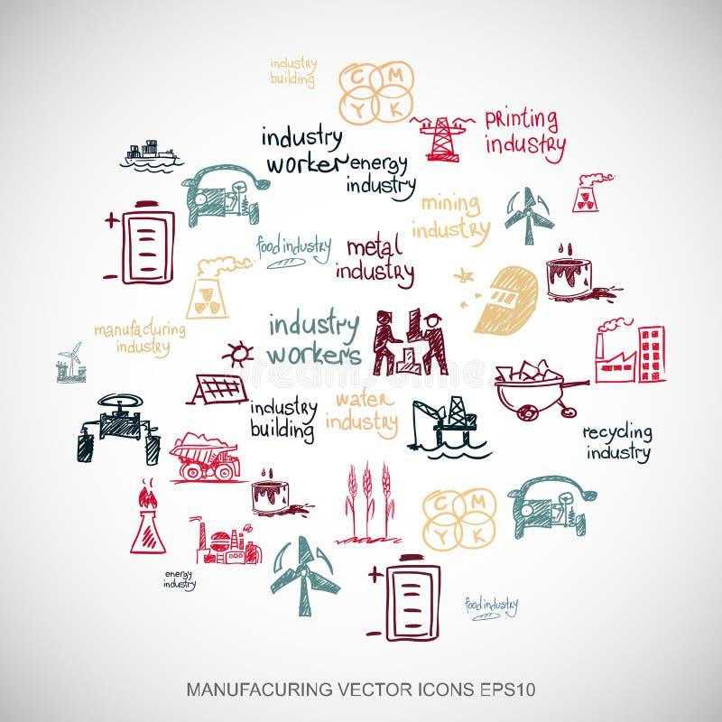 Значки индустрии doodles индустрии Multicolor нарисованные рукой установили на белизну Иллюстрация вектора EPS10 иллюстрация штока