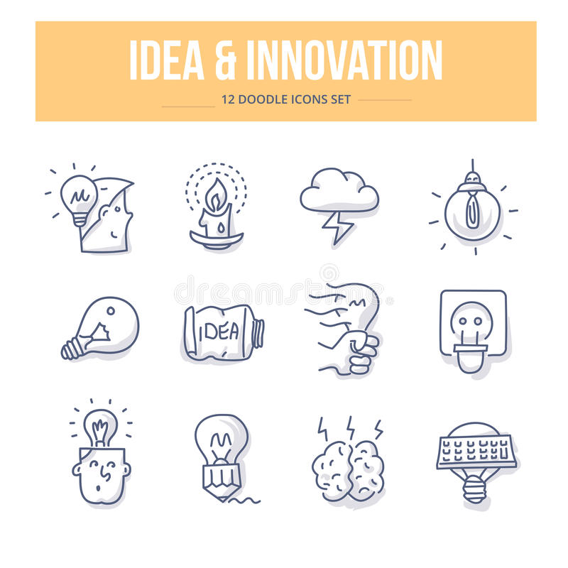 Значки идеи & Doodle нововведения иллюстрация вектора