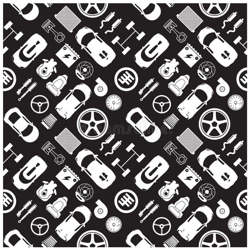 Значки и предпосылка части автомобиля бесплатная иллюстрация