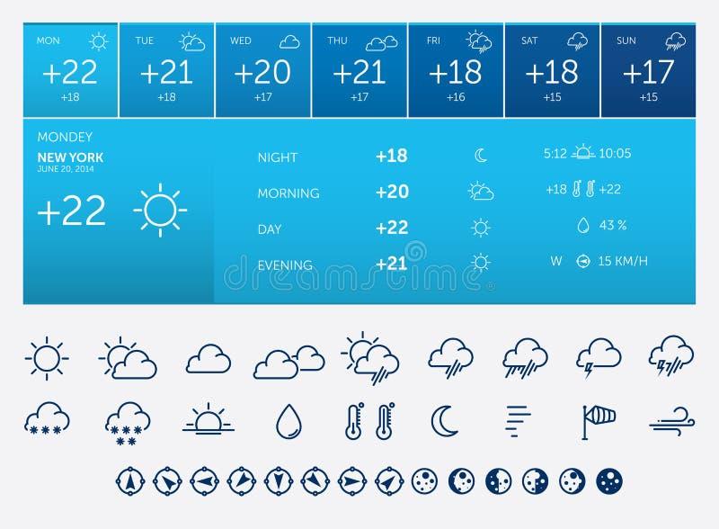 Значки и приспособление погоды иллюстрация штока