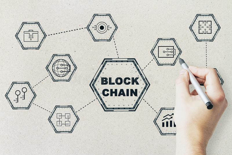 Значки и рука сети Blackchain стоковое изображение rf