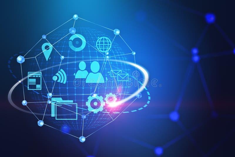 Значки и сеть интернета над голубой предпосылкой стоковые изображения