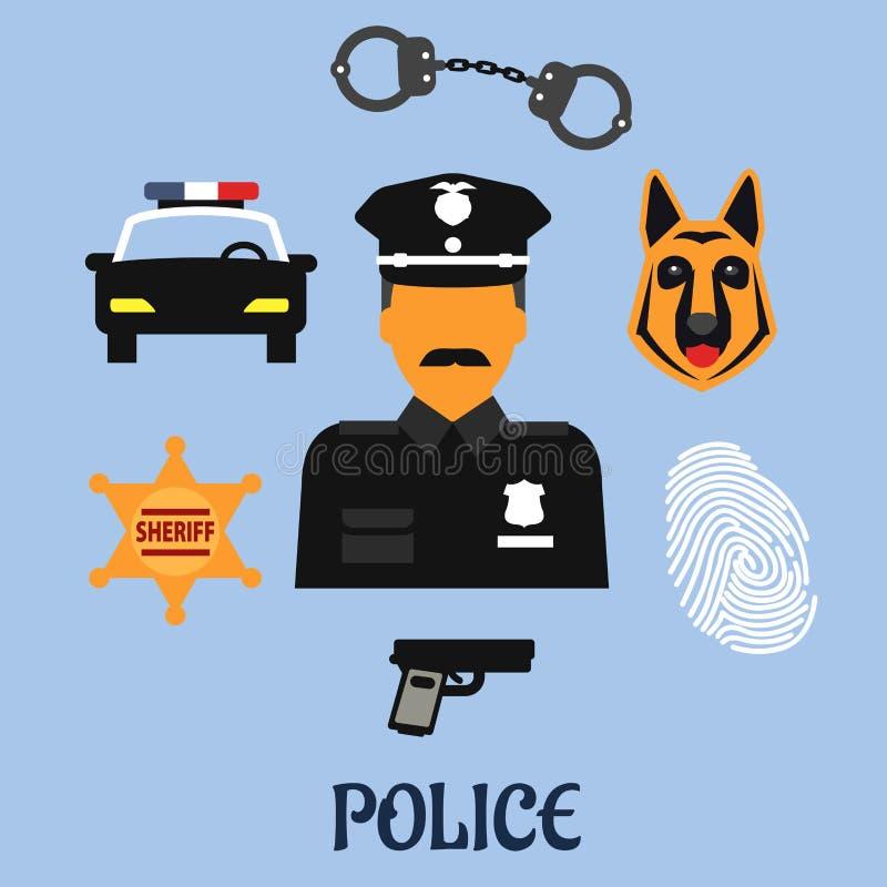 Значки и символы профессии полиции плоские иллюстрация штока