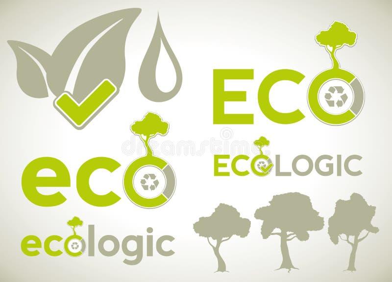 Значки и символы для infographics экологичности иллюстрация вектора
